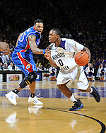 Jan 30, 2008; Manhattan, KS, USA; Kansas State Wildcats guard Jacob Pullen (0) drives around Kansas Jayhawks guard Brandon Rush (25) in the second half at Bramlage Coliseum in Manhattan, KS. Kansas State upset the 2nd ranked Kansas Jayhawks 84-75. Mandatory Credit: Peter G. Aiken-US PRESSWIRE