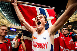 August 10, 2018 - Berlin, GERMANY - 180810 Jakob Ingebrigtsen of Norway celebrates after the 1500 meter final after the European Athletics Championships on August 10, 2018 in Berlin..Photo: Vegard Wivestad GrÂ¿tt / BILDBYRN / kod VG / 170201 (Credit Image: © Vegard Wivestad Gr¯Tt/Bildbyran via ZUMA Press)