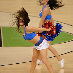 Mar 31, 2012; New Orleans, LA, USA; Kansas Jayhawks cheerleaders perform during the second half in the semifinals of the 2012 NCAA men's basketball Final Four against the Ohio State Buckeyes at the Mercedes-Benz Superdome. Mandatory Credit: Derick E. Hingle-US PRESSWIRE