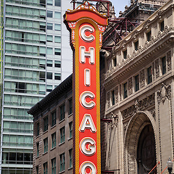 Chicago Theater sign photo. The Chicago Theater is a popular Chicago attraction and landmark listed with the National Register of Historic Places.