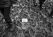 "Four sets of legs walk through mud, in the centre a note says ""keep off the mud"". Glastonbury 1997"