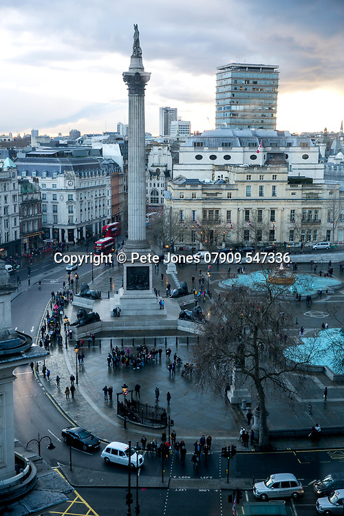 Nelson's Column Trafalgar Square;<br /> Shot from Lord Mayor of Westminster Offices;<br /> 5, The Strand, London, WC2N 5HR<br /> 28th March 2018.<br /> <br /> &copy; Pete Jones<br /> pete@pjproductions.co.uk