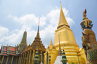 Stupas and Guardian statue Wat Phra Kaew near the Royal Grand Palace Bangkok Thailand&#xA;<br />