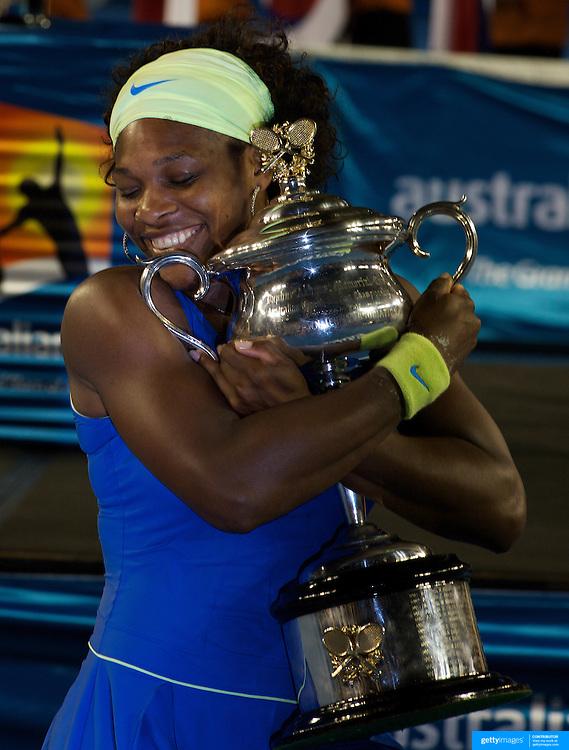 Serena Williams USA, winning the Women's singles final defeating Dinara Safina 6-0, 6-3 at the Australian Tennis Open on January 31, 2009 in Melbourne, Australia. Photo Tim Clayton    .