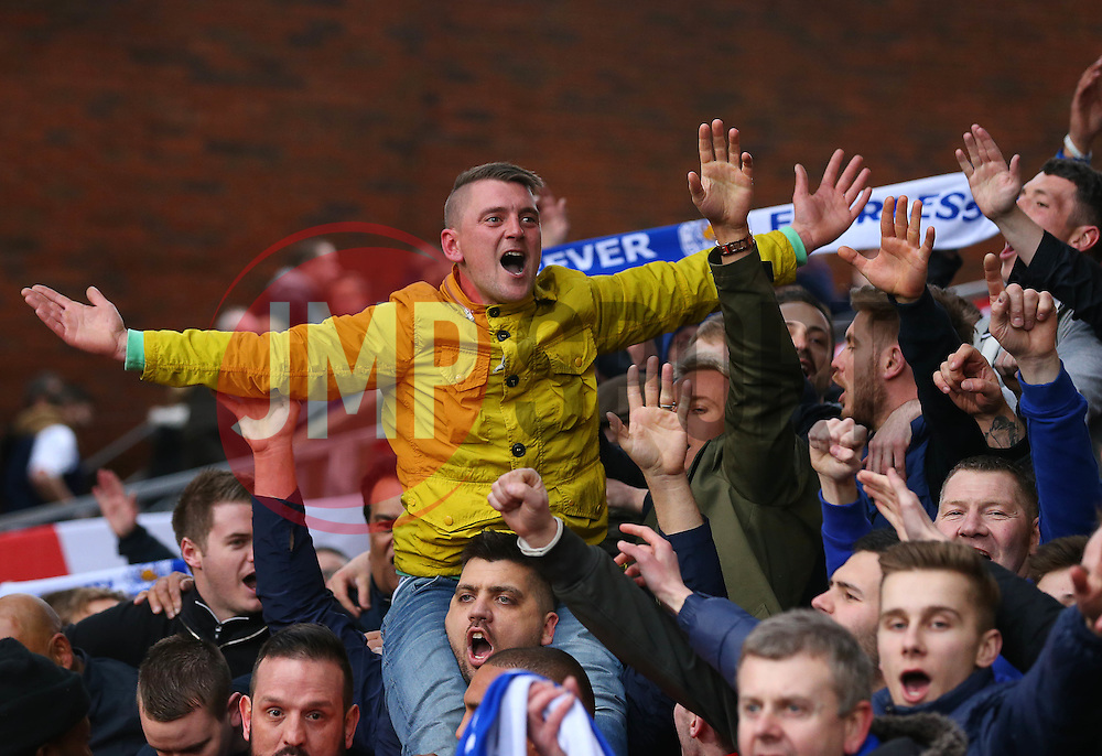 Leicester City fans celebrate after their side win 1-0 - Mandatory byline: Paul Terry/JMP - 19/03/2016 - FOOTBALL - Selhurst Park - London, England - Crystal Palace v Leicester City - Barclays Premier League