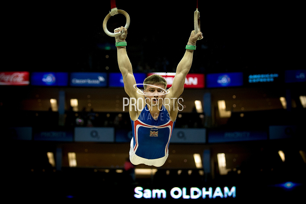 Sam Oldham of Great Britain (GBR) on the Rings during the iPro Sport World Cup of Gymnastics 2017 at the O2 Arena, London, United Kingdom on 8 April 2017. Photo by Martin Cole.