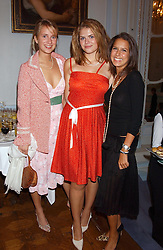 Left to right, GRACE HUGHES-HALLETT, STELLA POWELL-JONES daughter of Flora Fraser and NATASHA LEONARD at a party to celebrate the publication of 'Princesses' the six daughters of George 111 by Flora Fraser held at the Saville Club, Brook Street, London W1 on 14th September 2004.<br /><br />NON EXCLUSIVE - WORLD RIGHTS