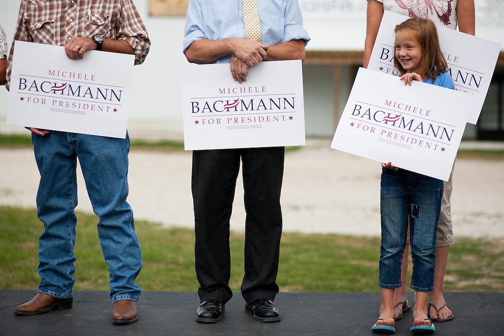 People wait for Republican presidential hopeful Michele Bachmann at a campaign stop on Tuesday, August 9, 2011 in Humboldt, IA.