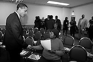 Illinois State Senator and U.S. Senate candidate Barack Obama greets supporters at a political candidates forum as he campaigns on the south side of Chicago Saturday March 6, 2004. ...