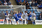 Oldham Athletic midfielder Paul Green (28) has a shot on goal during the EFL Sky Bet League 1 match between Gillingham and Oldham Athletic at the MEMS Priestfield Stadium, Gillingham, England on 8 October 2016. Photo by Martin Cole.