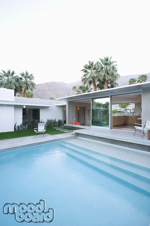 Split level poolside area Palm Springs