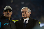 January 24, 2016: Carolina Panthers vs Arizona Cardinals. Panthers Head Coach Ron Rivera and Panthers owner Jerry Richardson