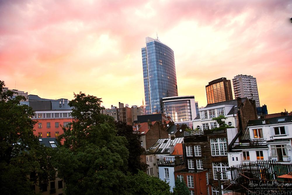 The Madou Tower looms over the St. Josse-ten-noode neighborhood of Brussels, Belgium