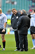 Twickenham, GREAT BRITAIN,  left Baa Baa's Assistant Coach, Steve HANSEN, chatting with Graham HENRY,before the 2011 Killik Cup Match Barbarians [Baa Baa's] vs Australia, Played at the RFU Stadium Twickenham, Surrey on Saturday 26/11/2011 [Photo, Peter Spurrier/Intersport-images]