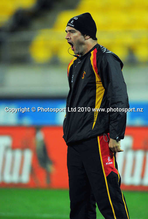 Waikato player liaison Stephen Donald finds watching warm-ups very exciting. ITM Cup rugby union - Wellington Lions v Waikato at Westpac Stadium, Wellington, New Zealand on Saturday, 21 August 2010. Photo: Dave Lintott/PHOTOSPORT