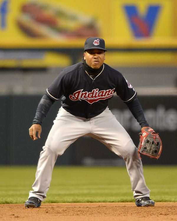 CHICAGO - APRIL 21:  Jose Ramirez #16 of the Cleveland Indians fields against the Chicago White Sox on April 21, 2017 at Guaranteed Rate Field in Chicago, Illinois.  (Photo by Ron Vesely)   Subject:  Jose Ramirez