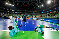 Vid Sever and Damir Puskar of Slovenia before futsal quarterfinal match between National teams of Slovenia and Russia at Day 7 of UEFA Futsal EURO 2018, on February 5, 2018 in Arena Stozice, Ljubljana, Slovenia. Photo by Urban Urbanc / Sportida