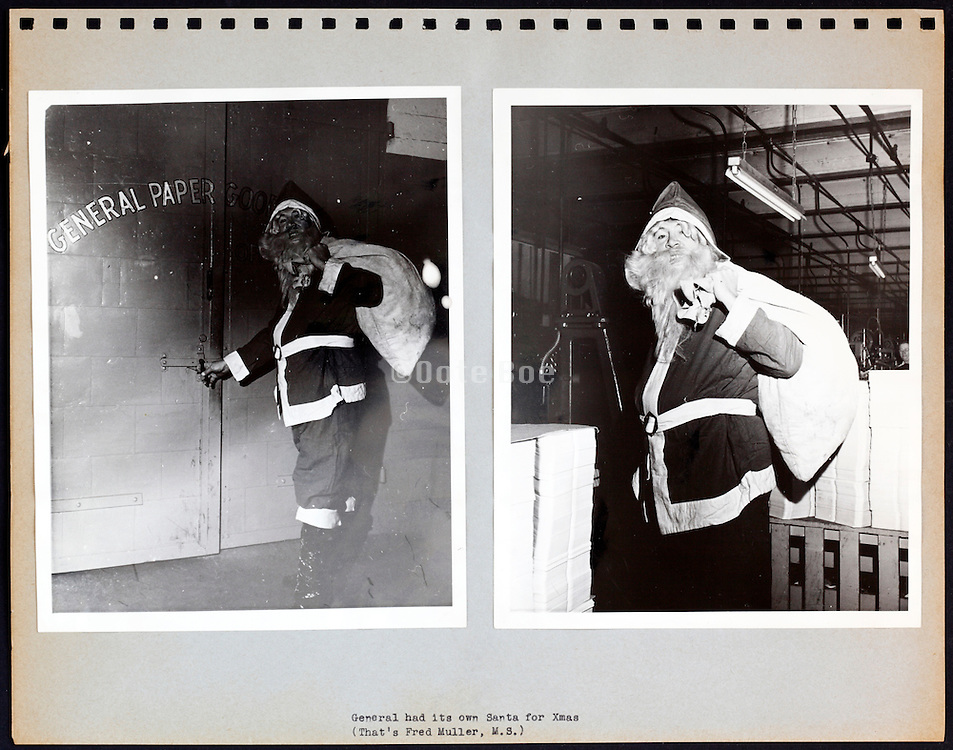 page from a photo album with Santa USA 1945