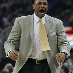 Boston Celtics head coach Doc Rivers yells to his bench in the first quarter of their NBA game on March 22, 2008 at the New Orleans Arena in New Orleans, Louisiana. The New Orleans Hornets defeated the Boston Celtics 113-106.