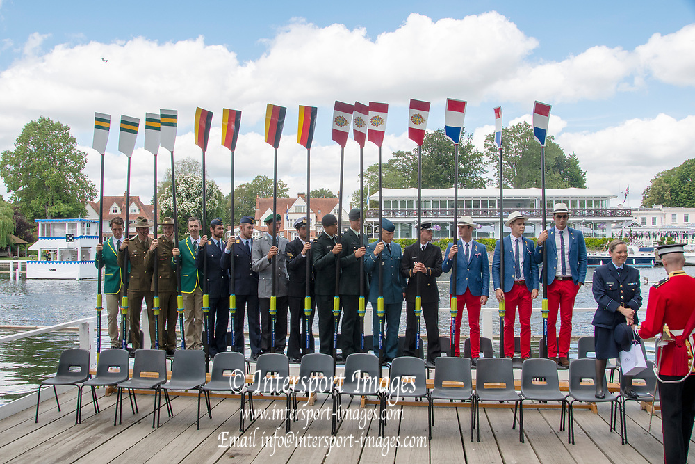 Henley on Thames, England, United Kingdom, Tuesday, 02.07.19, Members of the crews of the Armed Forces, taking part in the King's Cup, Henley Royal Regatta,  Henley Reach, [©Karon PHILLIPS/Intersport Images]<br /> <br /> 11:28:30 1919 - 2019, Royal Henley Peace Regatta Centenary,