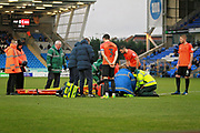 Southend United defender John White (48) stretchered off with a serious injury during the EFL Sky Bet League 1 match between Peterborough United and Southend United at London Road, Peterborough, England on 3 February 2018. Picture by Nigel Cole.