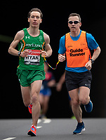 Declan Ryan IRL runs alongside his guide runner in the T12 Men World Para Athletics Marathon Championships. The Virgin Money London Marathon, 28 April 2019.<br /> <br /> Photo: Jon Buckle for Virgin Money London Marathon<br /> <br /> For further information: media@londonmarathonevents.co.uk