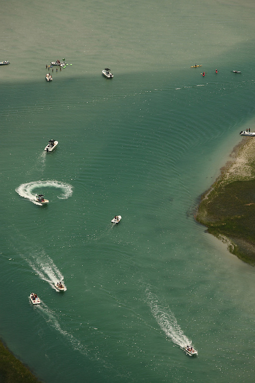 Aerial image of the marshes, islands, inlets and waterways around Wrightsville Beach, North Carolina.