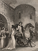 Edward the Martyr (963?-978), English king, son of Edgar whom he succeeded in 975.  Killed at Corfe Castle, Dorset, by the treachery of his stepmother Elfrida (Aelfthryth). This picture illustrates the story that Elfrida diverted Edward's attention by giving him a drink as he rode out from Corfe, thus enabling one of her thegns to stab him in the back. From 'The Imperial History of England' by Theophilus Camden (London, 1832). Engraving.