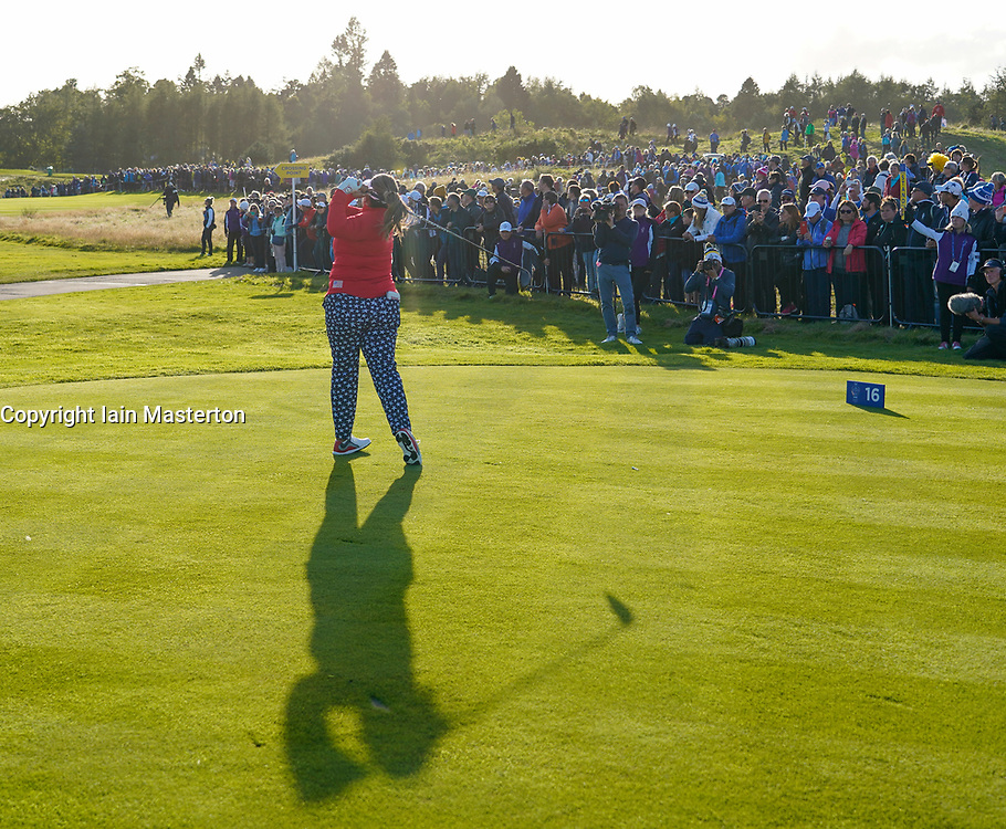 Solheim Cup 2019 at Centenary Course at Gleneagles in Scotland, UK. Lizette Salas of USA tee shot on 16th hole during Friday afternoon fourballs