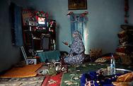 The Saharawi refugee camp  Smara..Sahrawi woman inside his home.January 2008