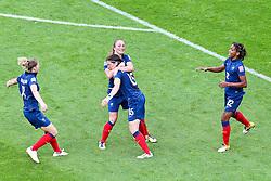 09.07.2011, FIFA Frauen-WM-Stadion Leverkusen, Leverkusen, GER, FIFA Women Worldcup 2011, Viertelfinale, England (ENG) vs. Frankreicht (FRA), im Bild:  Torjubel / Jubel  nach dem 1:1 durch Elise Bussaglia (Frankreich) mit Laure Lepailleur (Frankreich) (L) und Elodie Thomis (Frankreich) (R) sowie Camille Abbild (Frankreich).. // during the FIFA Women´s Worldcup 2011, Quaterfinal, England vs France on 2011/07/09, FIFA Frauen-WM-Stadion Leverkusen, Leverkusen, Germany.   EXPA Pictures © 2011, PhotoCredit: EXPA/ nph/  Mueller *** Local Caption ***       ****** out of GER / CRO  / BEL ******