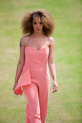 LIVERPOOL, ENGLAND - Friday, June 16, 2017: Models walk onto Centre Court during a fashion show during Day Two of the Liverpool Hope University International Tennis Tournament 2017 at the Liverpool Cricket Club. (Pic by David Rawcliffe/Propaganda)