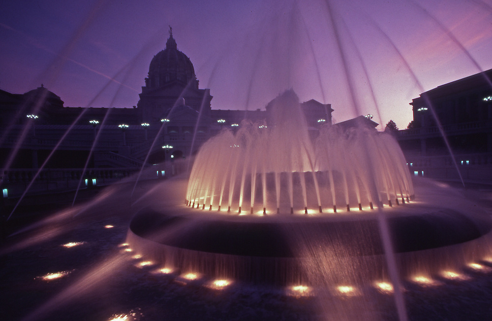PA Capitol Fountain at Dusk, Lights, Harrisburg, Pennsylvania
