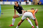 Luton Town forward Danny Hylton (9) warming up before the EFL Sky Bet League 1 match between Peterborough United and Luton Town at London Road, Peterborough, England on 18 August 2018.