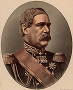 Eduard Ivanovich Totleben or Todleben (1818-1884). Russian general and military engineer of German descent.  Strengthened the fortifications of Sebastopol (Sevastopol) during the Crimean War (1854-1856).  From 'The Modern Portrait Gallery' (London, c1880)