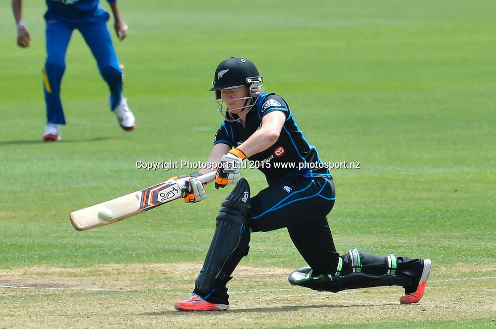 Katie Perkins of New Zealand sweeps the ball during the 3rd ODI cricket match, White Ferns V Sri Lanka, at the Bert Sutcliffe Oval, Lincoln, New Zealand. 7rd November 2015. Copyright Photo: John Davidson / www.photosport.nz