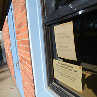 A sign left in the window of Clarendon Elementary School.