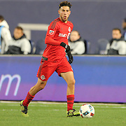 NEW YORK, NEW YORK - November 06: Jonathan Osorio #21 of Toronto FC in action during the NYCFC Vs Toronto FC MLS playoff game at Yankee Stadium on November 06, 2016 in New York City. (Photo by Tim Clayton/Corbis via Getty Images)
