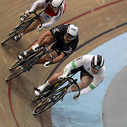 Dan Ellis, Australia, (front), in action during the Men's Keirin competition at the 2012 Oceania WHK Track Cycling Championships, Invercargill, New Zealand. 21st November  2011. Photo Tim Clayton