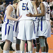 The University of Delaware lady hen huddled together in the first half.  Delaware defeated Towson 75-57 Wednesday at The Bob Carpenter Center In Newark Delaware...Special to The News Journal/SAQUAN STIMPSON