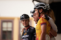 Lisa Brennauer (GER) lines up with her Wiggle High5 teammates at sign on for Lotto Thuringen Ladies Tour 2018 - Stage 6, a 137.3 km road race starting and finishing in Gotha, Germany on June 2, 2018. Photo by Sean Robinson/velofocus.com