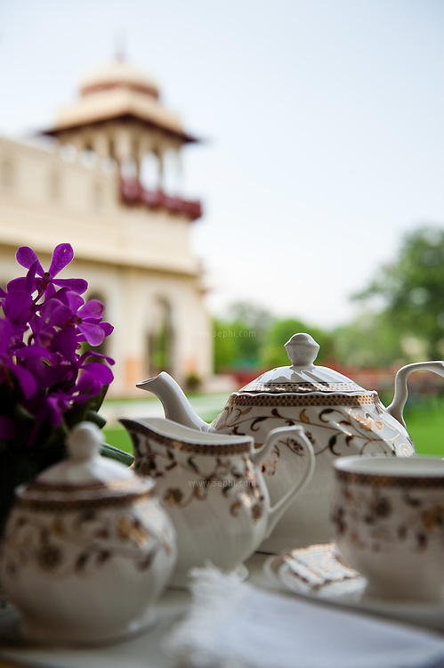 The afternoon tea set on the Verandah at the gracious Rambagh Palace Hotel, Bhawani Singh Rd, +91 141 221 1919, www.tajhotels.com