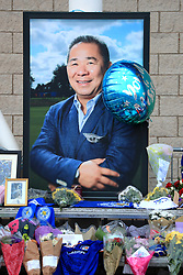 Tributes at Leicester City Football Club. Leicester Chairman, Vichai Srivaddhanaprabha, was among those to have tragically lost their lives on Saturday evening when a helicopter carrying him and four other people crashed outside King Power Stadium.PRESS ASSOCIATION Photo. Picture date: Tuesday October 30, 2018. See PA story SOCCER Leicester. Photo credit should read: Mike Egerton/PA Wire