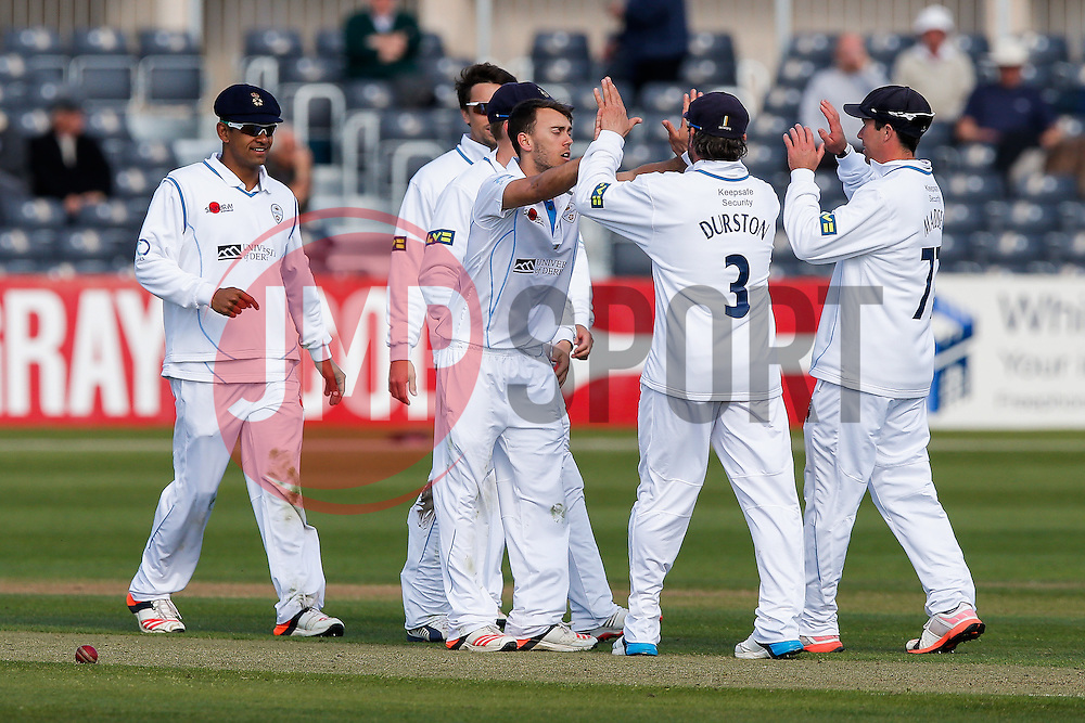 Alex Hughes of Derbyshire celebrates after he bowls out L.B.W. Hamish Marshall of Gloucestershire for 41 - Photo mandatory by-line: Rogan Thomson/JMP - 07966 386802 - 26/04/2015 - SPORT - CRICKET - Bristol, England - Bristol County Ground - Gloucestershire v Derbyshire — Day 1 - LV= County Championship Division Two.