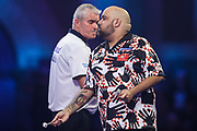 Kyle Anderson and Steve Beaton during the PDC William Hill World Darts Championship at Alexandra Palace, London, United Kingdom on 19 December 2019.