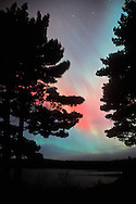 The aurora borealis or northern lights fill the sky near Harlow Lake near Marquette Michigan in the Upper Peninsula.