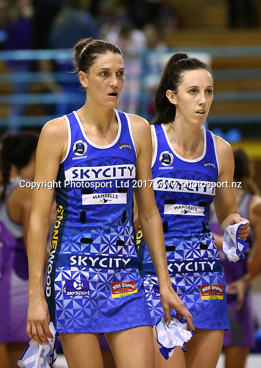 A disappointed looking Anna Harrison, left, and Bailey Mes of the Mystics after defeat in the ANZ Premiership netball match between the Northern Stars and Skycity Mystics at ASB Kohimarama, Auckland, New Zealand,   Wednesday, May 17, 2017. Copyright photo: David Rowland / www.photosport.nz