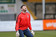 York City goalkeeper Scott Flinders  during the Sky Bet League 2 match between Cambridge United and York City at the R Costings Abbey Stadium, Cambridge, England on 20 February 2016. Photo by Simon Davies.