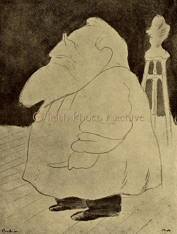 (Francois) Auguste (Rene) Rodin (1814-1917) French sculptor. From 'Fifty Caricatures' by Max Beerbohm (1872-1956) (London, 1913).  Copyright to be cleared.