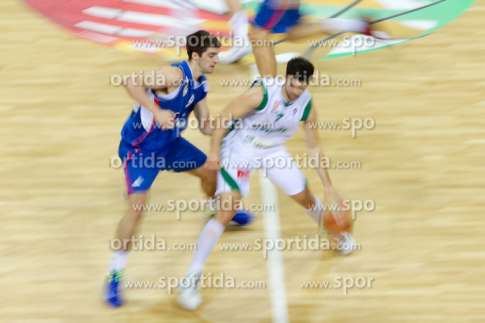 Stefan Markovic of Serbia vs Saso Ozbolt of Slovenia during basketball game between National basketball teams of Slovenia and Serbia in 7th place game of FIBA Europe Eurobasket Lithuania 2011, on September 17, 2011, in Arena Zalgirio, Kaunas, Lithuania. Slovenia defeated Serbia 72 - 68 and placed 7th. (Photo by Vid Ponikvar / Sportida)
